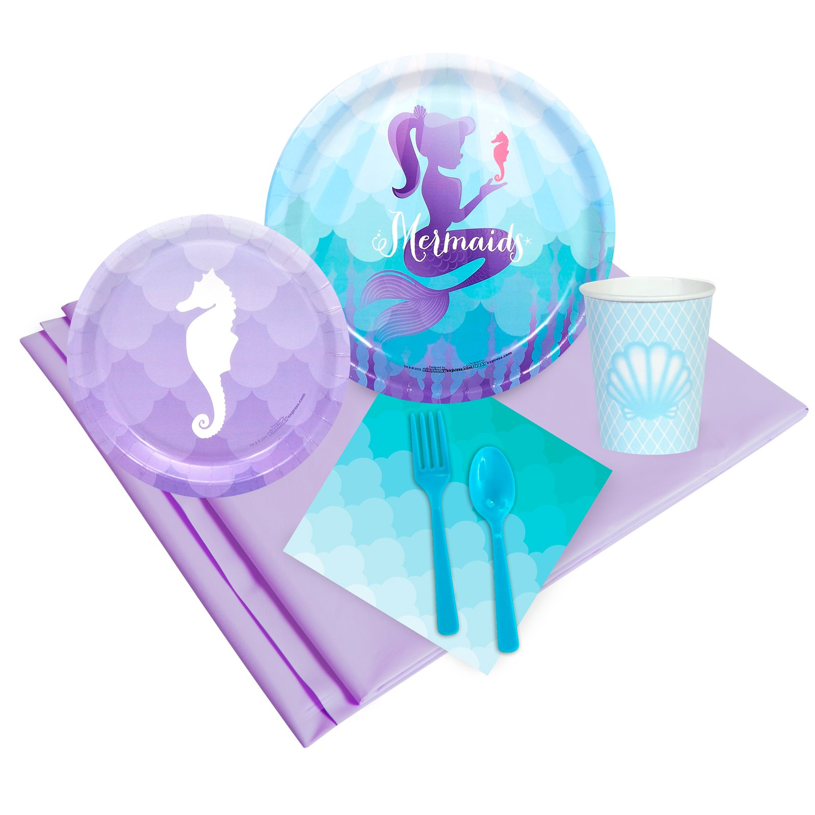BirthdayExpress Mermaids Under The Sea Party Supplies - Party Pack for 16