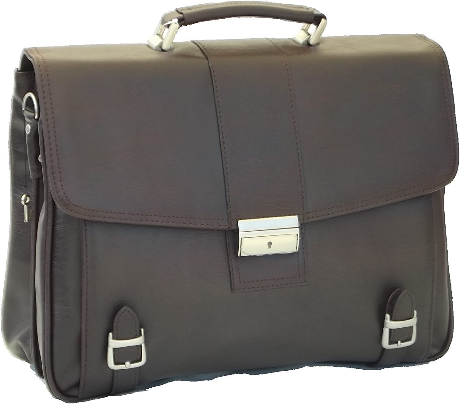 Faux Leather BriefcaseCarry Laptop Bag (Double Gusset, Brown)