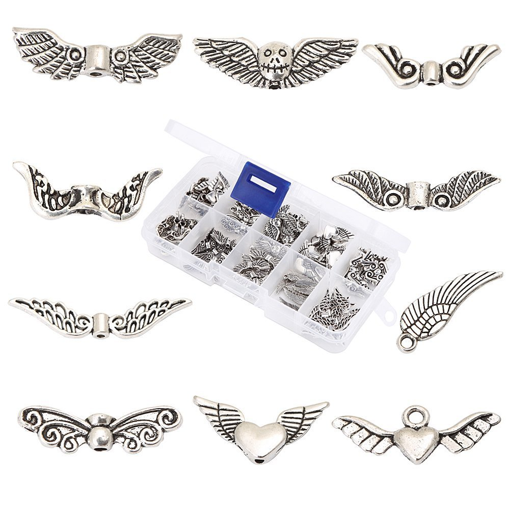100Pcs Assorted 10 Styles Tibetan Silver Angel Wing Spacer Charm Beads for Jewelry Making Findings Value Pack Mix Lot with Container Bingcute