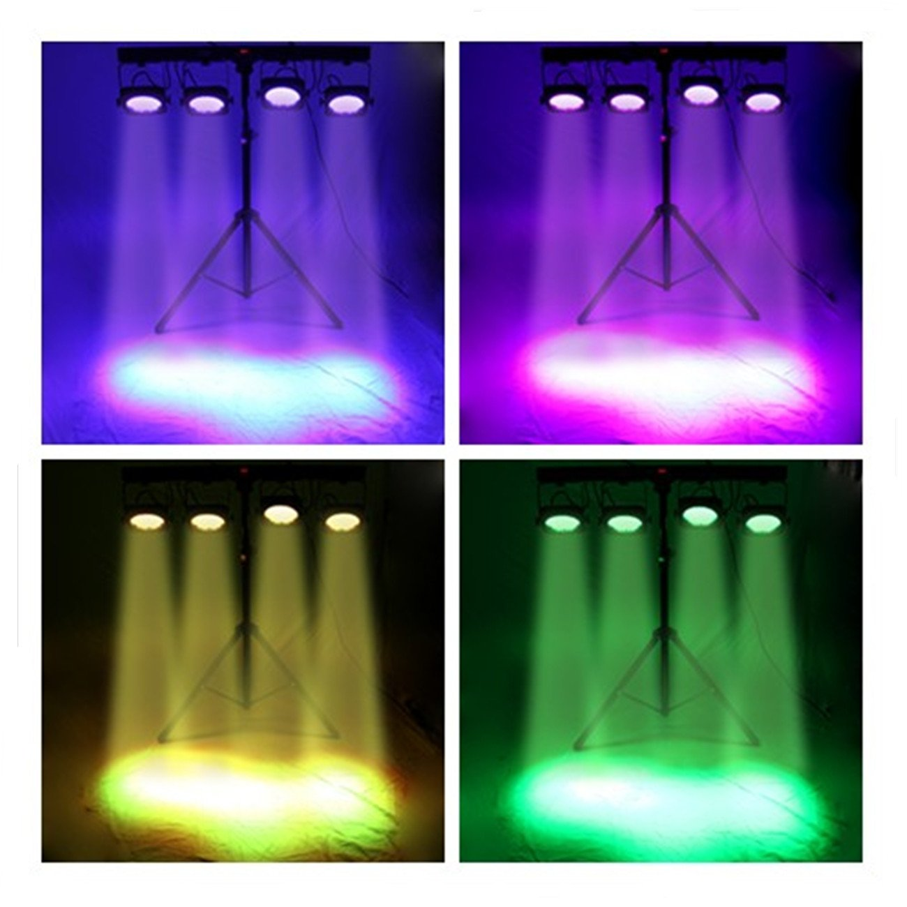 Ridgeyard 4 Bar LED mobile DJ Stage Wash Light System RGB Par DMX 512 Stage Lighting Sound Activated LED Lights for Stage with Light Fixture Tripod Stand + Footswitch
