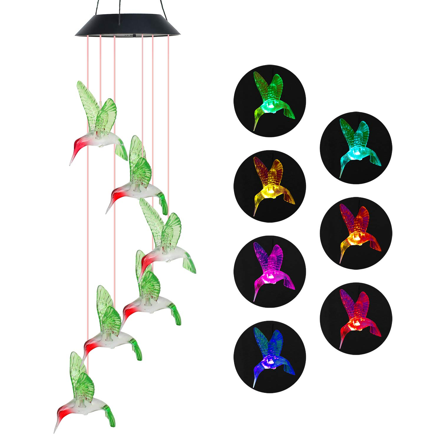 Wind Chime Outdoor Color-Changing Waterproof Mobile Romantic Led Solar Powered Hummingbird Wind Chimes Lights for Home, Indoor, Yard, Patio, Night Garden, Party, Valentines Gift, Festival Decor