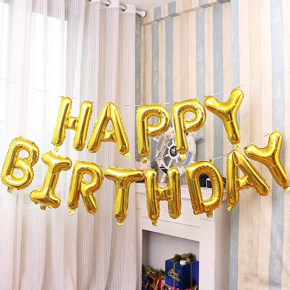 Qivange Happy Birthday Balloons 16 Inch Hanging Alphabet Foil Happy Birthday Banner Mylar Balloon for Party Decoration Gold