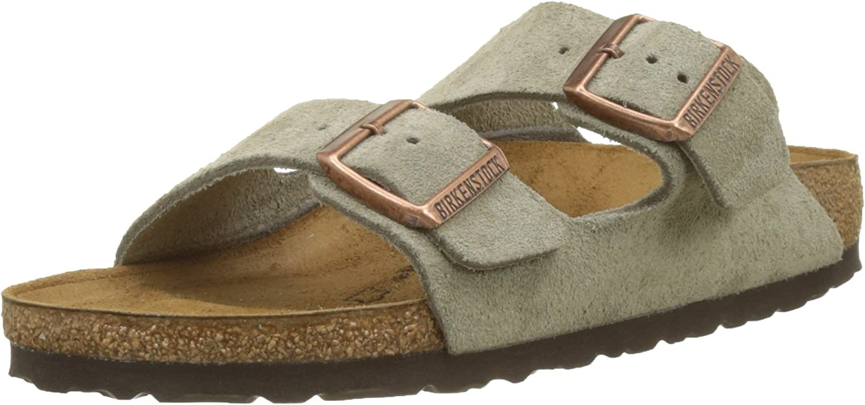 Birkenstock 51461: Unisex Arizona Suede Leather Taupe Walking Sandals (40 M EU)