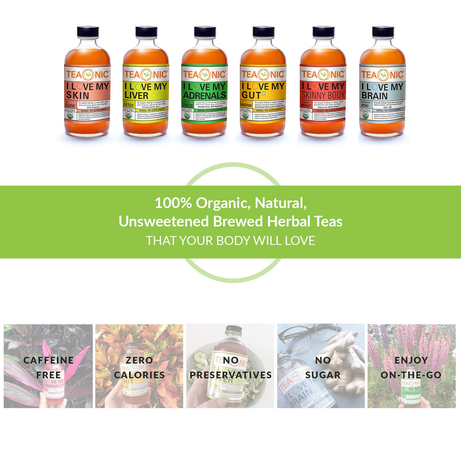 Teaonic Herbal Tea | I Love My Skin for Radiant Glow | Zesty Hibiscus & Lemongrass (12 Pack) by Teaonic (Image #6)
