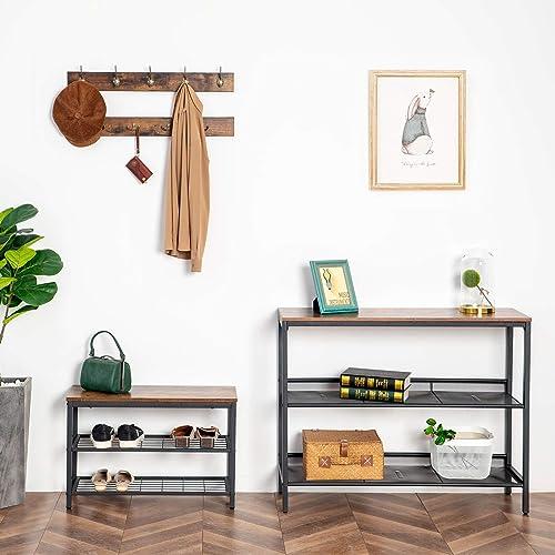 HOOBRO Coat Rack Shoe Bench Set, Entryway Shoe Rack with Coat Hooks, Coat Hat Bag Hanging Organizer, Industrial Design, Easy Assembly, Rustic Brown BF07MT01
