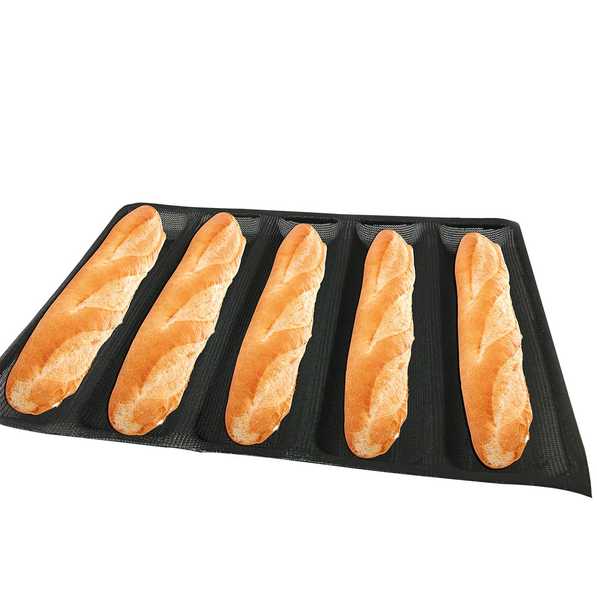 """Bluedrop Hot Dog Molds Silicone Bread Forms Non Stick Bakery Trays For Sub Roll Toasting 5 Loaves 12"""" Sheets"""