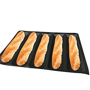 "Bluedrop Hot Dog Molds Silicone Bread Forms Non Stick Bakery Trays For Sub Roll Toasting 5 Loaves 12"" Sheets"