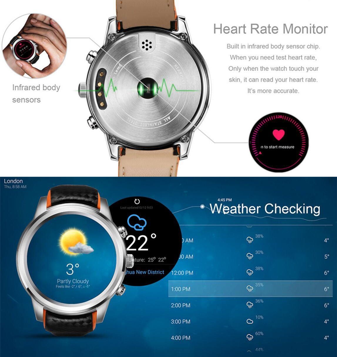 Amazon.com: Smart Watch Android 5.1 MTK6580 Quad Core 1GB/8GB 3G WIFI GPS Heart Rate Monitor Cell Phone Smartwatch For Anrioid Ios (Silver): Sports & ...