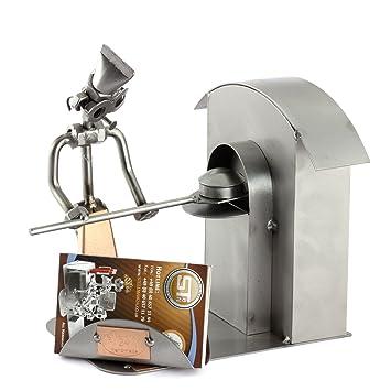 Steelman24 I Figurine En Metal Boulanger Avec Porte Cartes De Visite Made In Germany