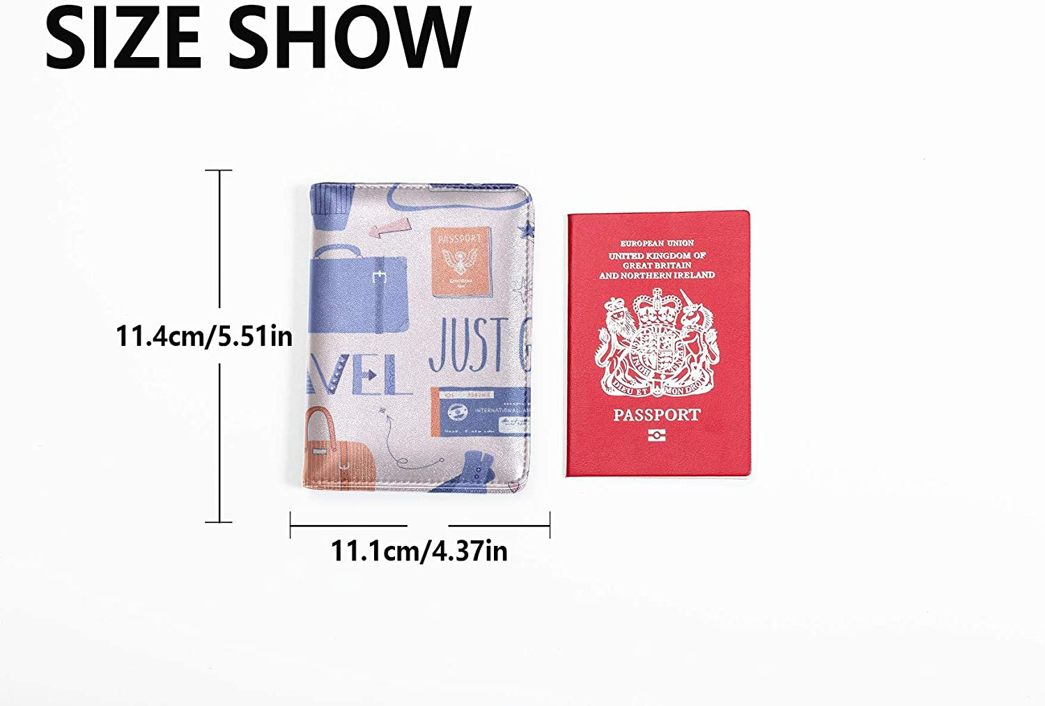 Vintage Passport Case Fashion Colorful Travel Luggage Bag Usa Passport Case Multi Purpose Print Cute Passport Cover For Women Travel Wallets For Unisex 5.51x4.37 Inch