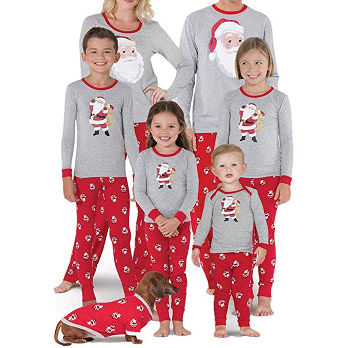 Yeawooh Family Matching Pajamas Sets, Christmas Sets Tops Trousers Santa Claus Print
