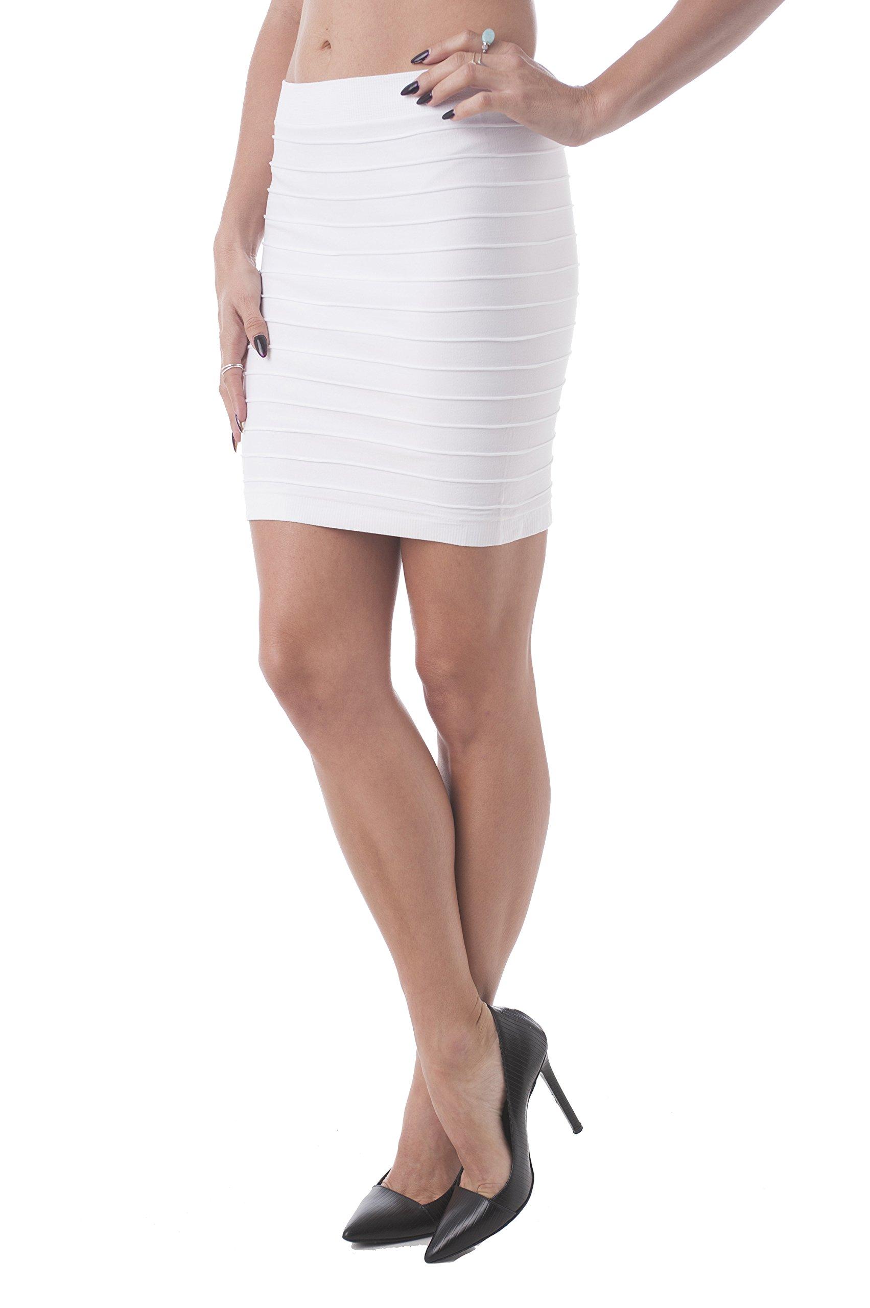 Bandage Style Mini Skirt Knit Stretch Fabric One Size (One Size, Ivory)
