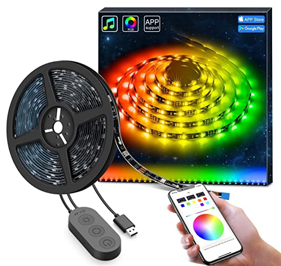 dreamcolor led strip lights with app, govee 6 56ft 2m usb light strip built in digital ic, 5050 rgb strip lights, color changing with music waterproof  39 430w le spot pack 9376687019118 #6