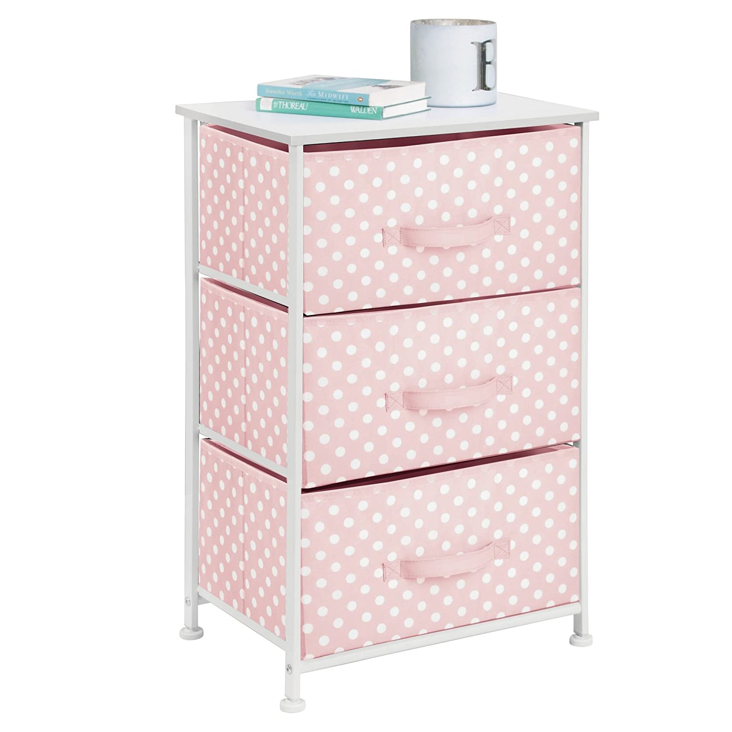 mDesign 3-Drawer Vertical Dresser Storage Tower Light Gray with White Polka Dots MetroDecor 00618MDCO Sturdy Steel Frame Multi-Bin Organizer Unit for Child//Kids Bedroom or Nursery Wood Top and Easy Pull Fabric Bins