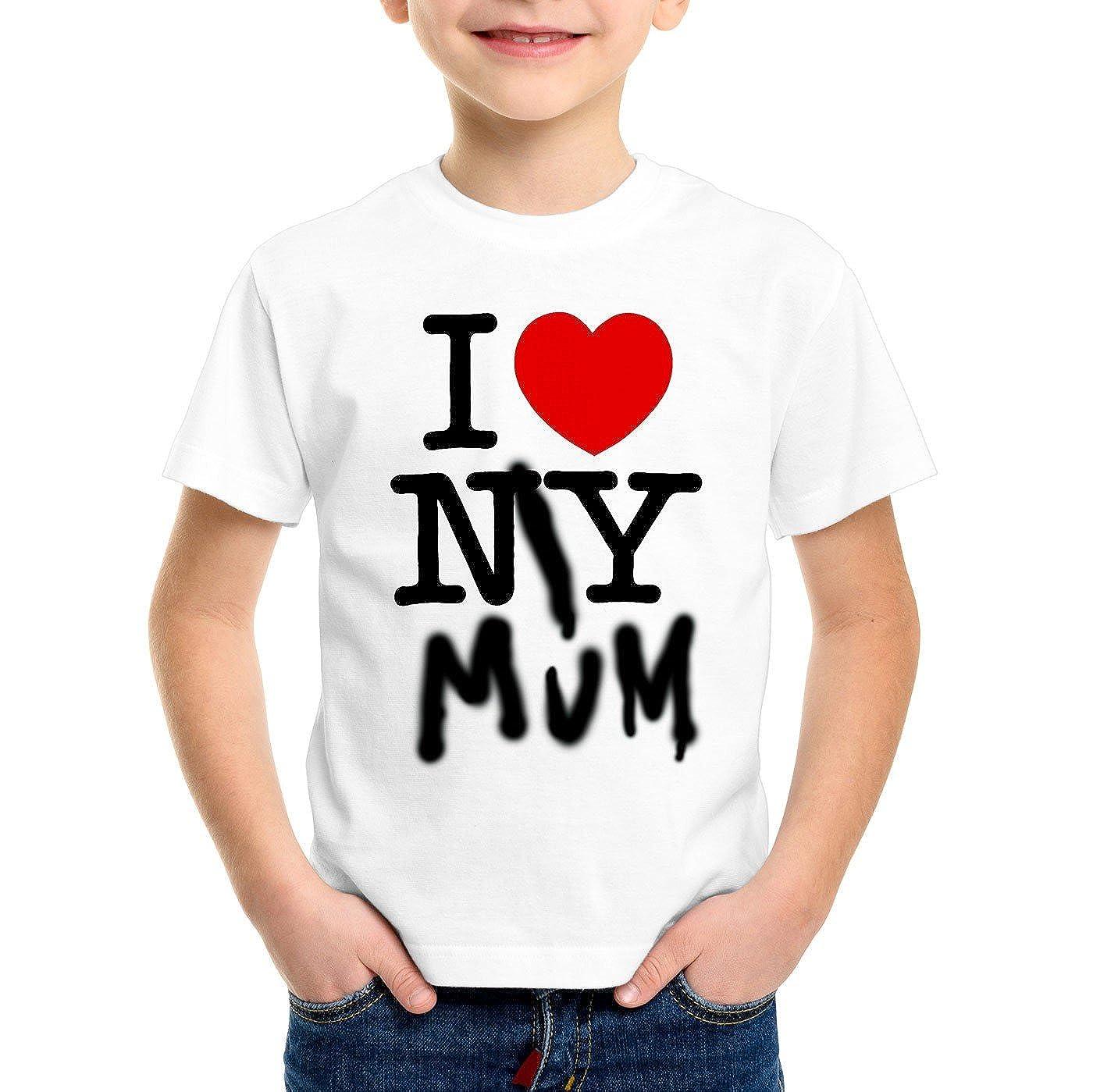 A.N.T. I Love My Mum T-shirt per bambini e ragazzi new york america ny festa della mamma usa cuore