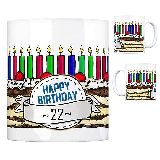 Tarta de cumpleaños taza para 22. Cumpleaños con 22 velas ...