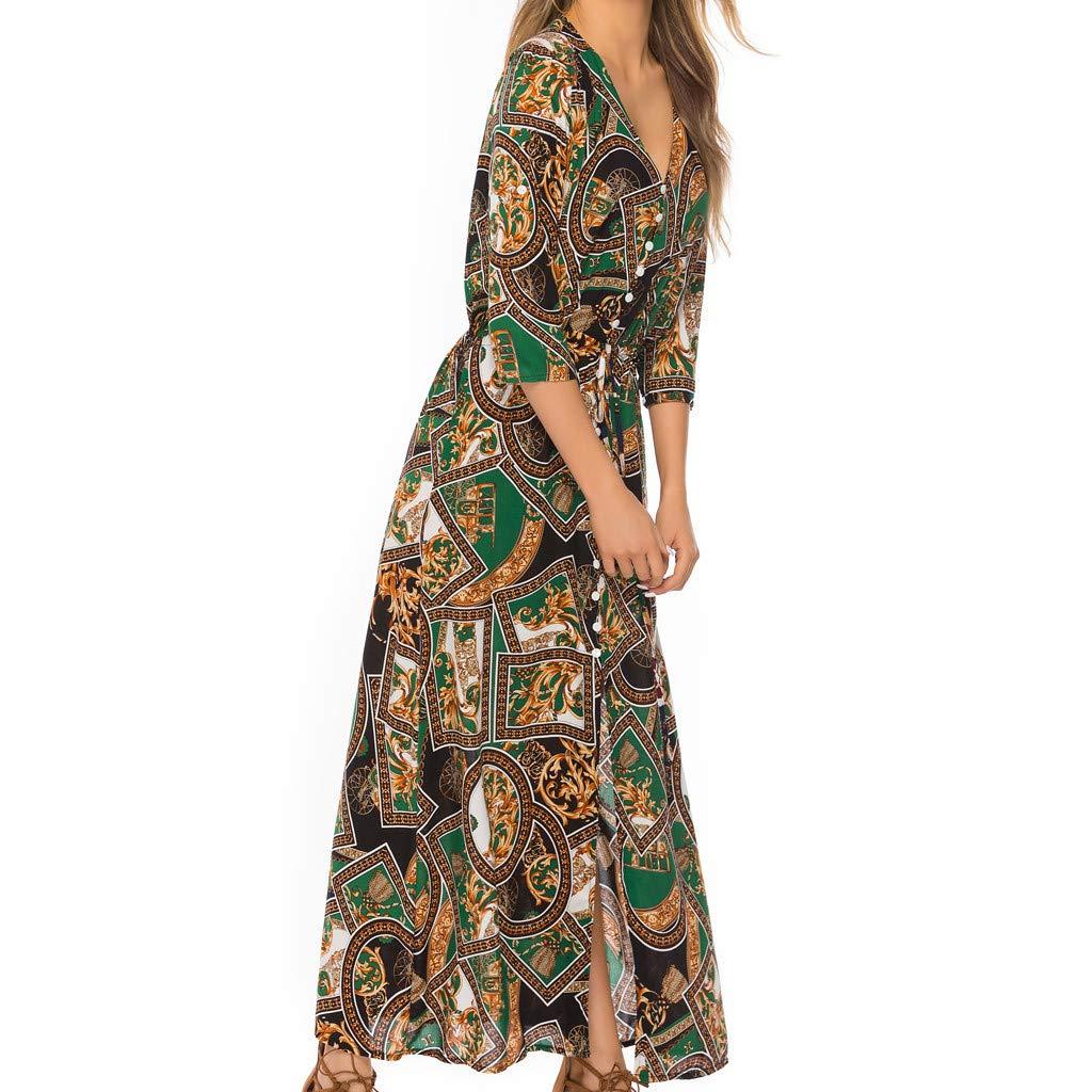 Meidexian888 Womens Plus Size Loose Dresses Bohemian Spliced V-Neck Button Split Hem Beach Dress