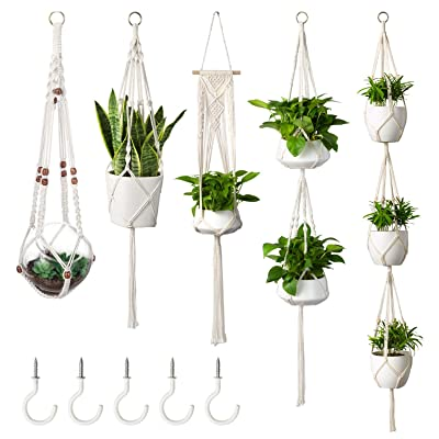 MoonLa 5-Pack Macrame Plant Hangers with 5 Hooks, Indoor Outdoor Hanging Planters Set Hanging Plant Holder Stand Flower Pots Boho Home Decor(Cotton Rope, 4 Legs, 5 Sizes): Garden & Outdoor