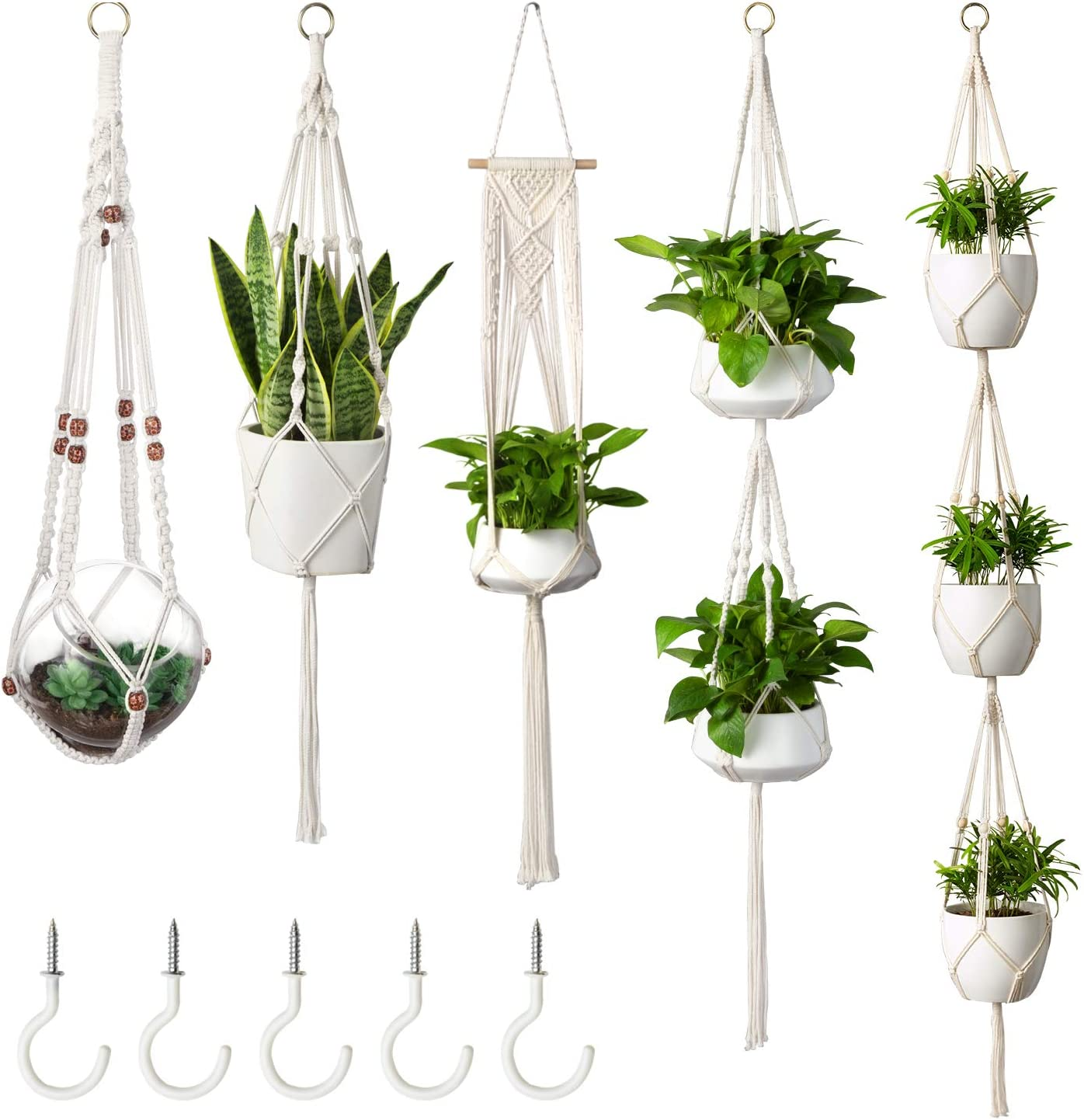 MoonLa 5-Pack Macrame Plant Hangers with 5 Hooks, Indoor Outdoor Hanging Planters Set Hanging Plant Holder Stand Flower Pots Boho Home Decor Cotton Rope, 4 Legs, 5 Sizes