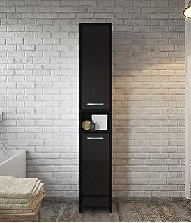Badezimmer Schrank Rio 131 cm Hochglanz Schwarz Fronten – Regal ...