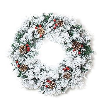 decoracin navideas guirnalda de puerta de navidad nieve pias agujas de pino rojo bayas pvc guirnaldas - Guirnaldas De Navidad