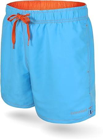 normani Badeshort für Herren Männer - Badehose Beacon Schwimmhose schnell  trocknend Farbe Cyan Blau/Dunkelorange