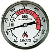 Tel-Tru BQ300 Barbecue Thermometer, 3 inch aluminum zoned dial, 4 inch stem, 100/500 degrees F