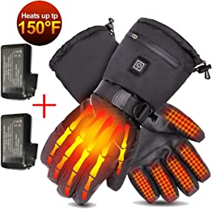 Loiion Heated Motorcycle Gloves, Rechargeable 7.4V 2500mAh Heated Gloves for Men & Women, Winter Snow Gloves, Ski Gloves, Electric Battery Workout Gloves for Outdoor Work