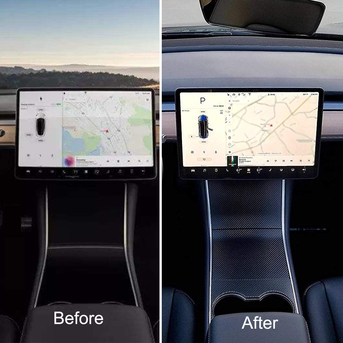 for Tesla Model 3 Dashboard Wood Wrap Cover Stickers Interior Matte Deep Black Vinyl Wrap Kit Matte Black