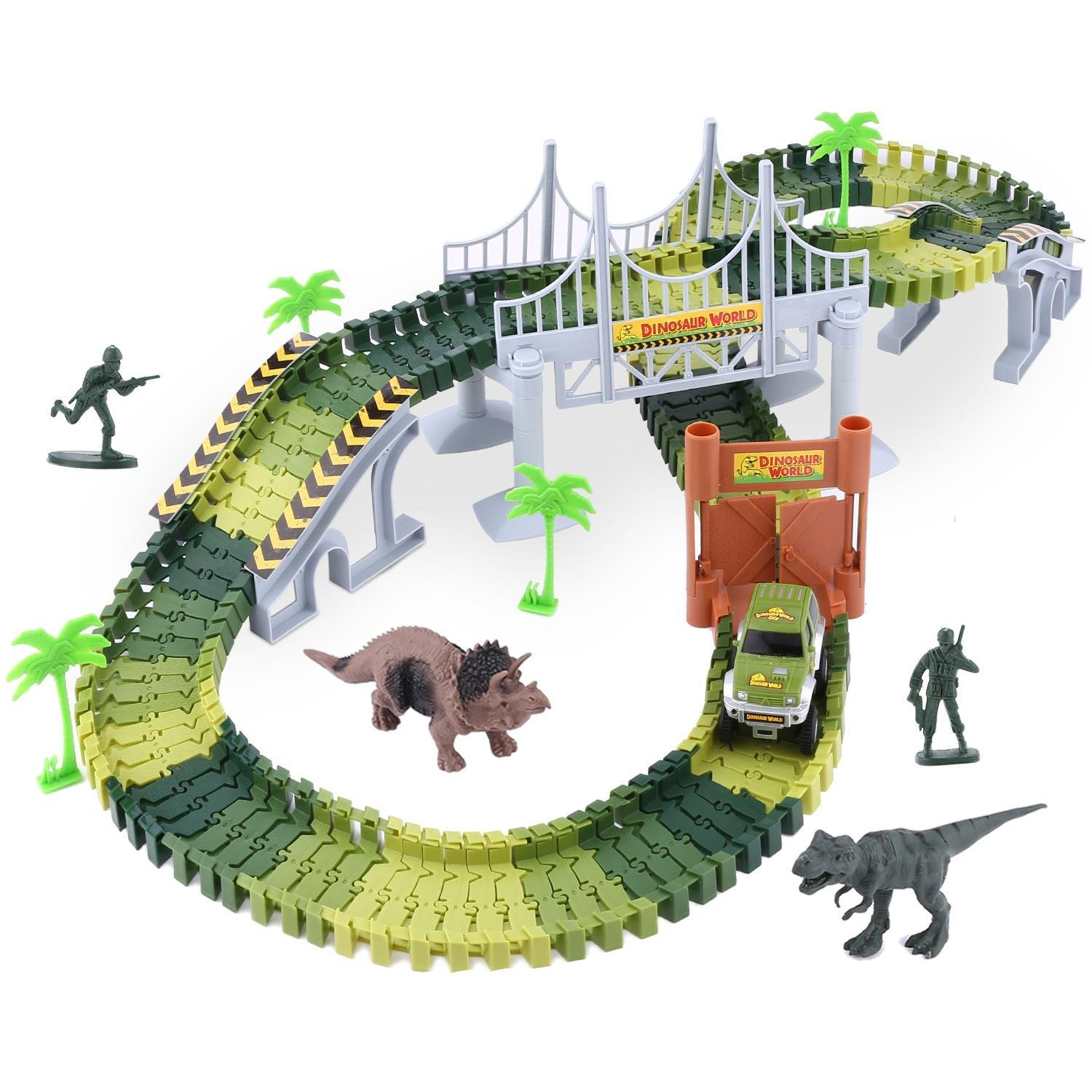 Meflying Military World Race Track Dinosaur World Bridge Railway Set, 142 Piece Track Pieces & Flexible Track Playset with Toy Cars, 2 Dinosaurs, Best Toy Gift to Children