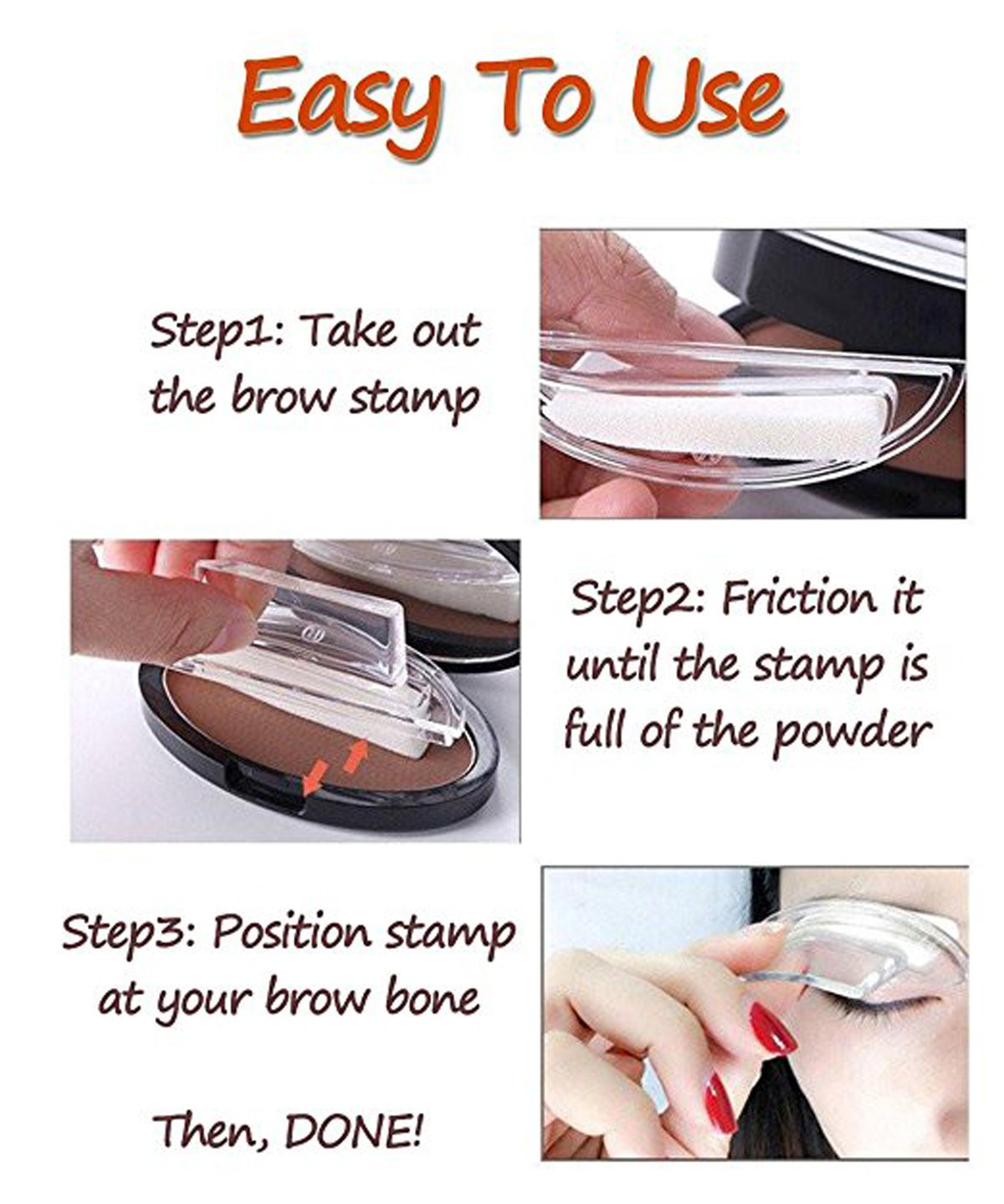 Taipo 3 Stencils Waterproof Eye Brow Stamp Perfect Eyebrow Power Seal Nature Delicate Shape Makeup Fashion Unique Brow Powder for Eyebrows Beginners Busy People (Dark Brown) by Taipo (Image #3)
