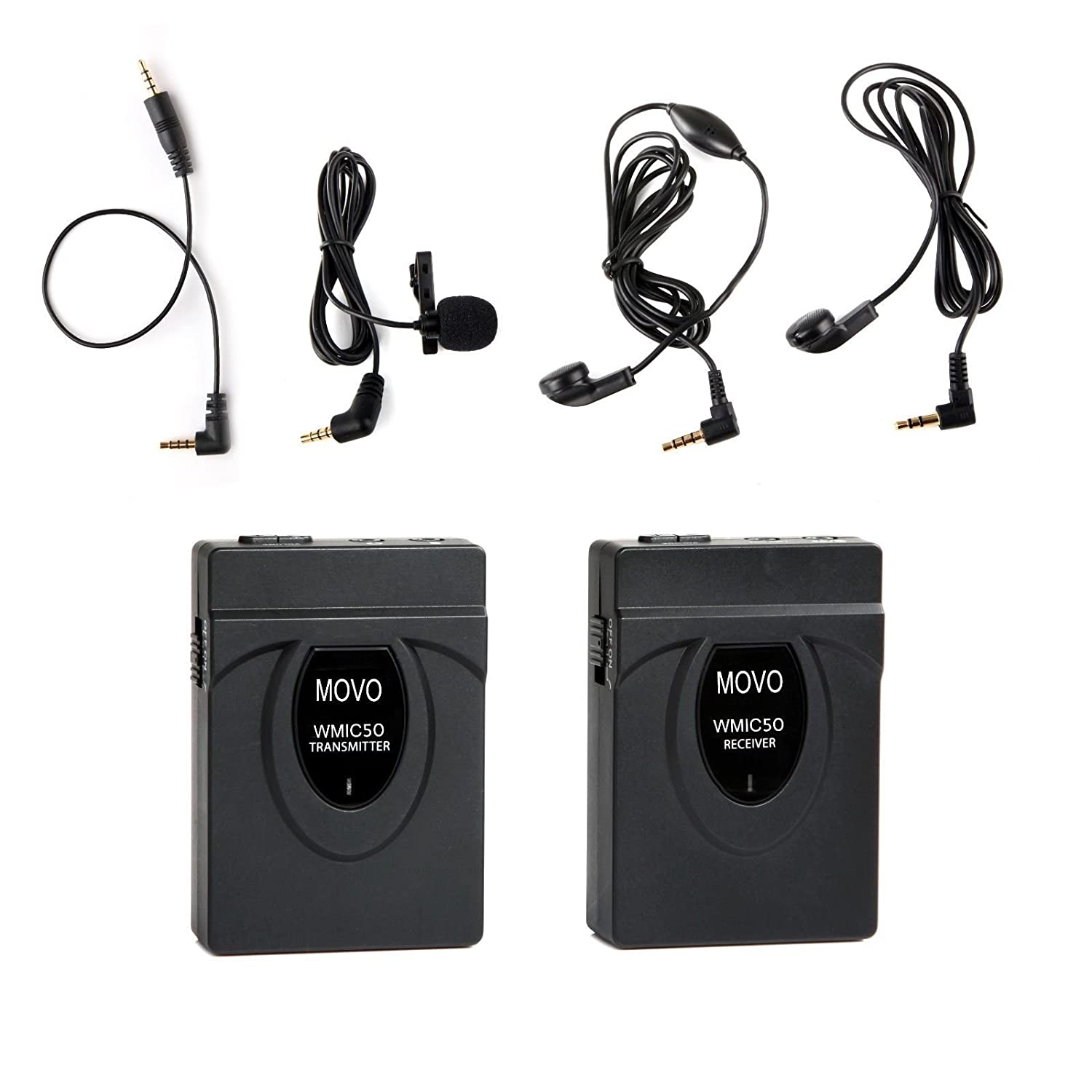 Movo WMIC50 2.4GHz Wireless Lavalier Microphone System with Integrated 164-foot Range Antenna (Includes Transmitter with Belt Clip, Receiver with Camera Shoe, Lavalier & 2 Earphones)