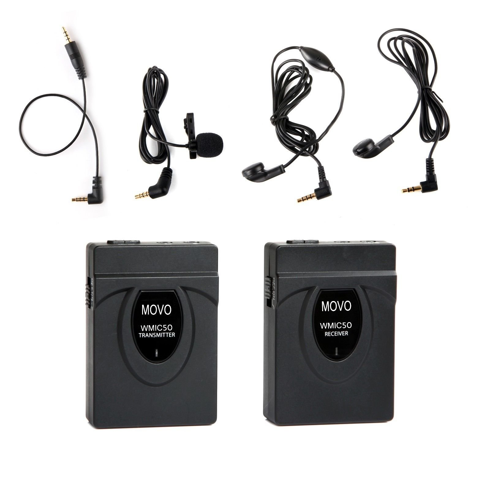 Movo WMIC50 2.4GHz Wireless Lavalier Microphone System with Integrated 164-foot Range Antenna (Includes Transmitter with Belt Clip, Receiver with Camera Shoe, Lavalier and 2 Earphones) by Movo
