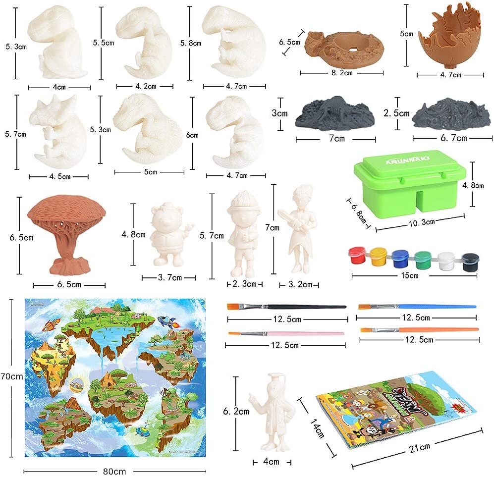 Globalstore 56pcs DIY Dinosaur Painting Kit for Kids Arts and Crafts Dinosaur Toys for Kids Crafts Painting Kit with Dinosaur Baby Figurines Egg Nests Dinosaur Kids Paint Kit for 4-8 Old Boys Girls