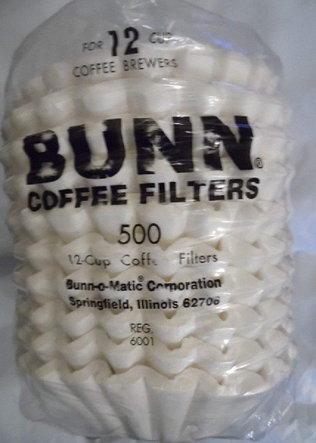 6001 12-Cup Commercial Coffee Filters, 500-count, White (Premium pack Made in USA)