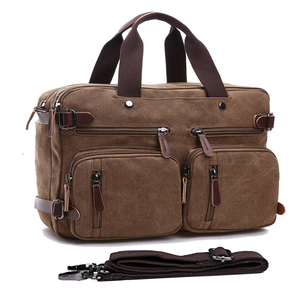 Convertible Backpack Messenger Bag Shoulder bag Canvas Handbag Large Business Briefcase Multi functional Computer Bag Travel Laptop Backpack BookBag Military Satchel For Men Women 15.6 coffee