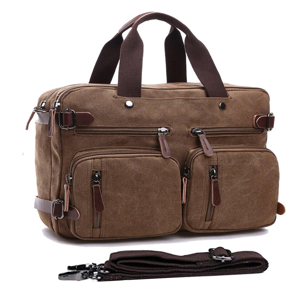 Convertible Backpack Messenger Bag Shoulder bag Canvas Handbag Large Business Briefcase Multi-functional Computer Bag Travel Laptop Backpack BookBag Military Satchel For Men/Women (17.3, coffee)