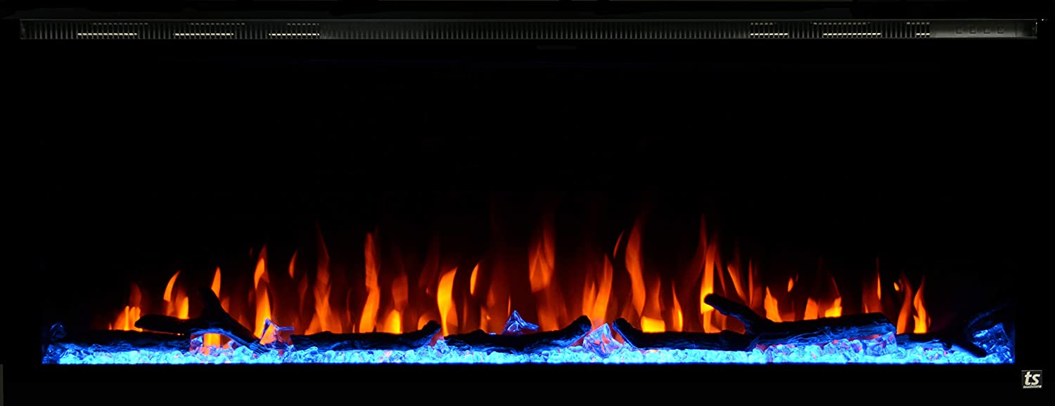 Touchstone 80036 – Sideline Elite Electric Fireplace – 50 Inch Wide – in Wall Recessed – 60 Color Combinations – 1500 750 Watt Heater 68-88 F Thermostat – Black – Log, Crystals, and Driftwood
