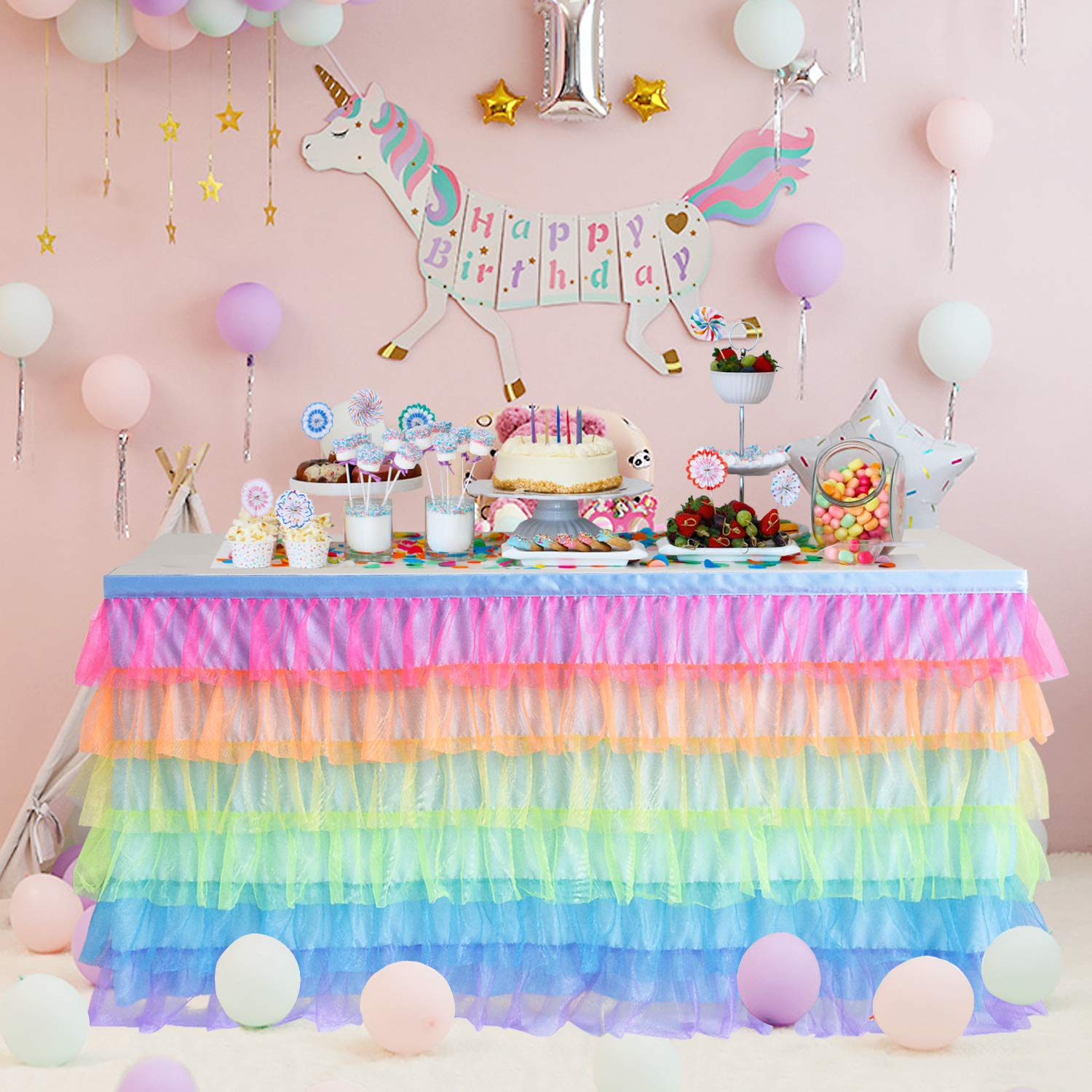 Rainbow Tulle Table Skirt 6ft Unicorn Table Skirt Tutu Table Cloth for Birthday Party Baby Shower Decorations Girl by Besutolife
