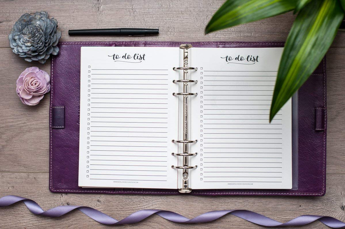 A5 Planner To Do List Inserts, Paper Refills for Filofax, Kikki K, Carpe Diem (Notebook Not Included)