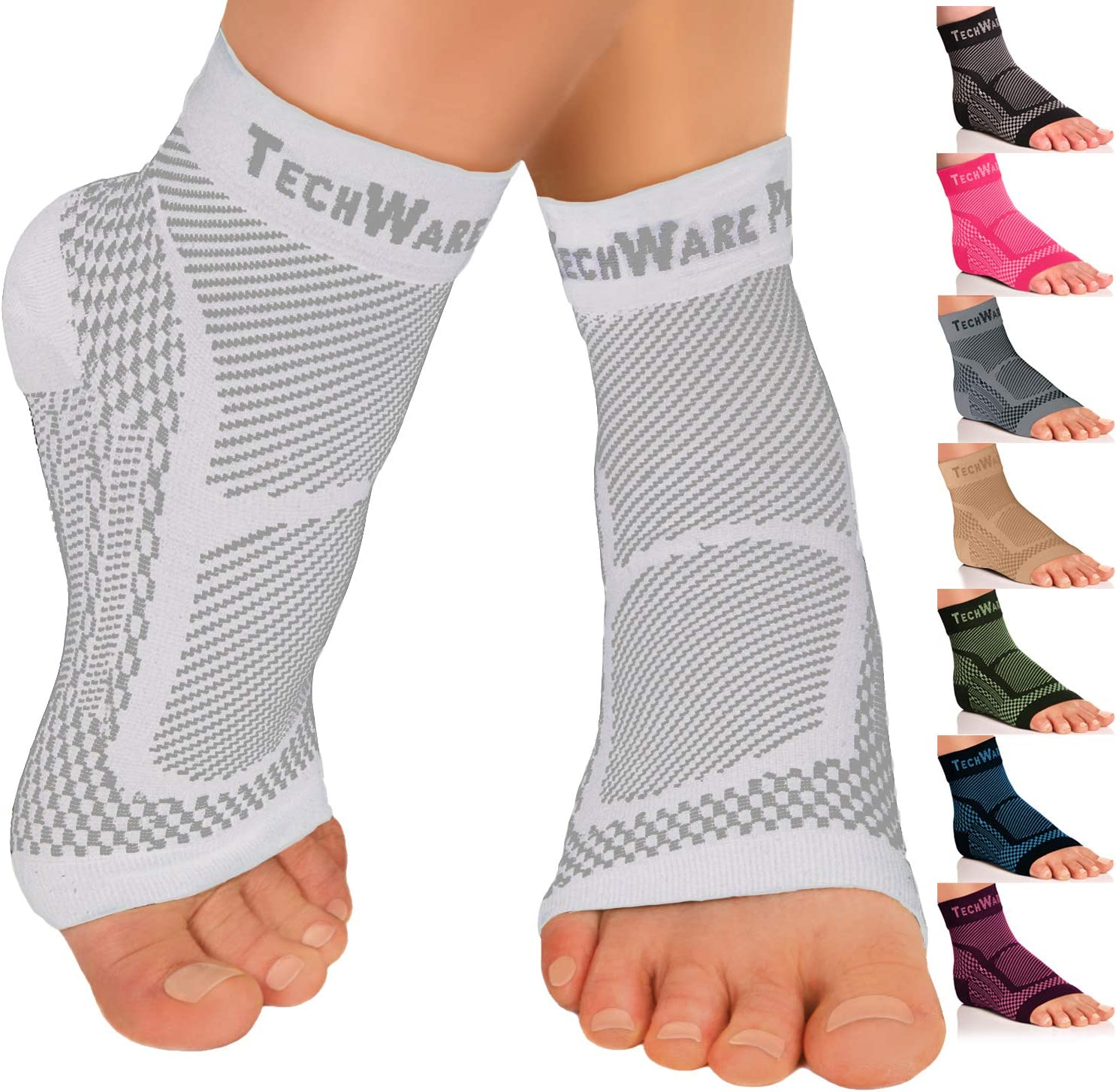 TechWare Pro Ankle Brace Compression Sleeve - Relieves Achilles Tendonitis, Joint Pain. Plantar Fasciitis Sock with Foot Arch Support Reduces Swelling & Heel Spur Pain. Injury Recovery for Sports : Sports & Outdoors