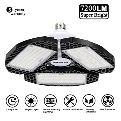 LED Garage Lights, Deformable LED Garage Ceiling Lights 72000 Lumens, CRI 80 Shop Lights for Garage,Ultra-Bright Mining Lamps with 3 Adjustable ...
