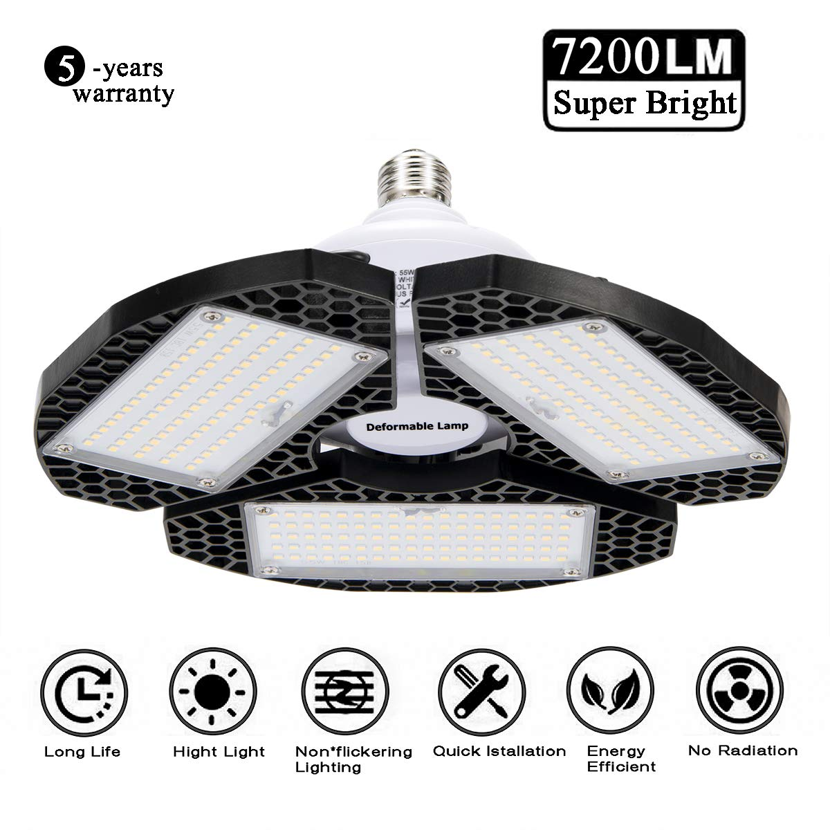 LED Garage Lights, Deformable LED Garage Ceiling Lights 72000 Lumens, CRI 80 Shop Lights for Garage,Ultra-Bright Mining Lamps with 3 Adjustable Panels,Working Light 、LED Light Bulbs for barn etc.