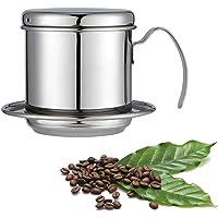 HelloCreate Filterkaffemaskin, vietnamesiskt kaffebryggarfilter, rostfritt stål kopp droppkaffe filter för kontor, hem…