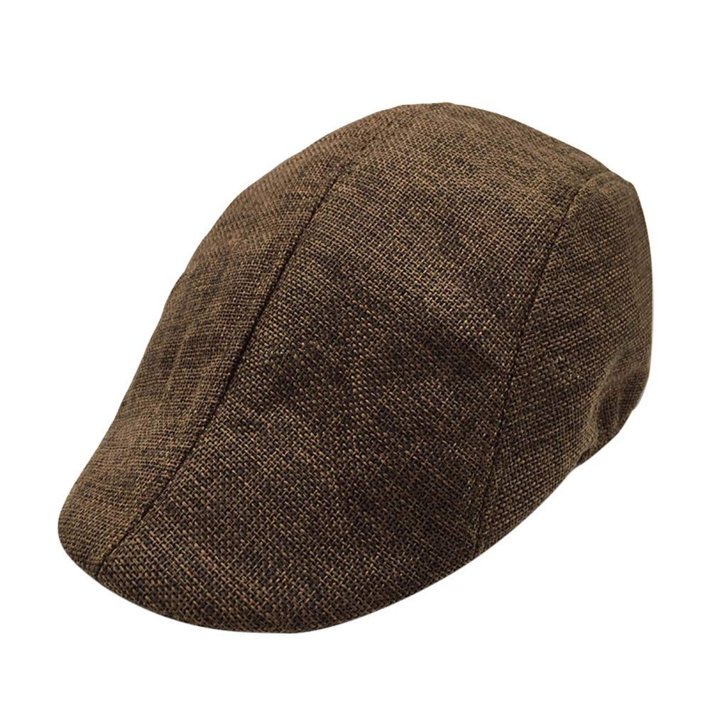 Men Summer Breathable Beret Flat Cap Visor Hat Sun Cap Casual Mesh Solid Low Profile Hat Vintage Trucker Cap (Coffee)