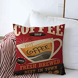 Starolal Throw Pillows Cover 20 x 20 Inches Caffeine Cafe Coffee Retro Tin Food Drink Creative Vintage Old Restaurant Coffe Espresso Label 1960S Cushion Case Cotton Linen for Fall Home Decor