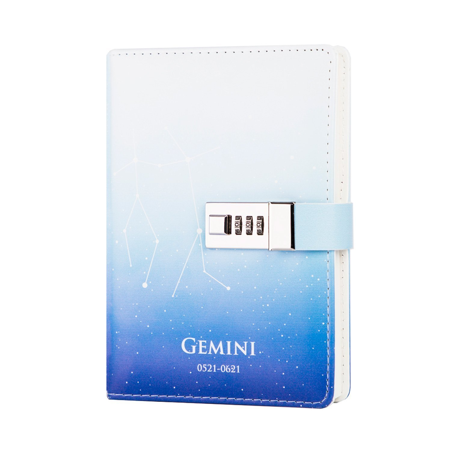 ToiM 12 Constellations PU Leather Journal Writing Notebook Daily Notepad with Combination Lock, B6 Password Diary (Gemini)