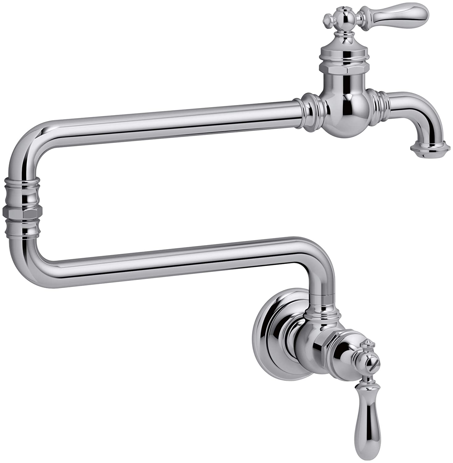 KOHLER 99270-CP Artifacts Single-Hole Wall-Mount Pot Filler Kitchen Sink Faucet with 22-Inch Extended Spout, Polished Chrome
