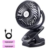 Ausein Clip on USB Desk Fan, Mini Portable Personal Air Cooling Fan with 5000mAh Rechargeable Battery Operated, 360° Rotation Quiet Fan for Baby Stroller, Home, School, workplace, Camping (Black)