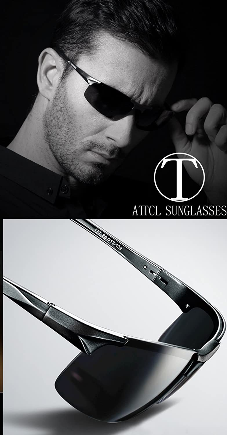 ebd6ca27dd ATTCL Men s Driving Polarized Sunglasses Unbreakable Metal Frame 8177 black   Amazon.ca  Clothing   Accessories